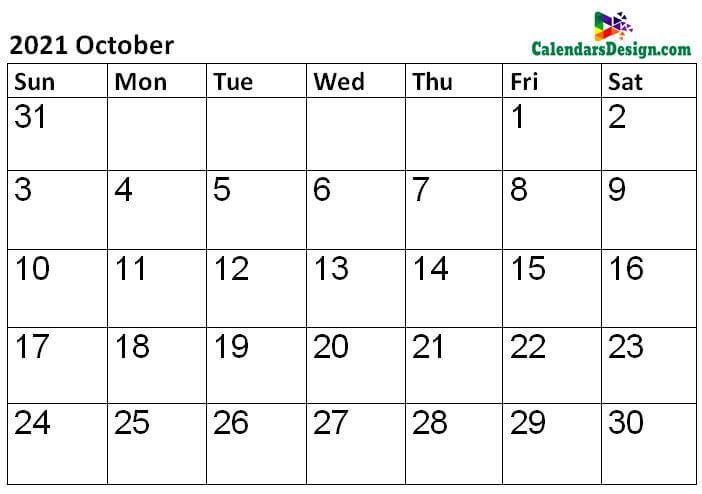 2021 Calendar October Template