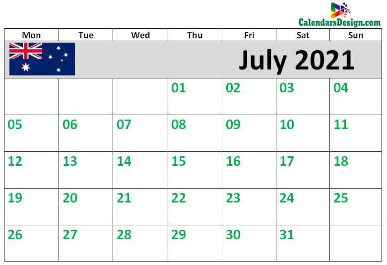 2021 July Calendar Australia