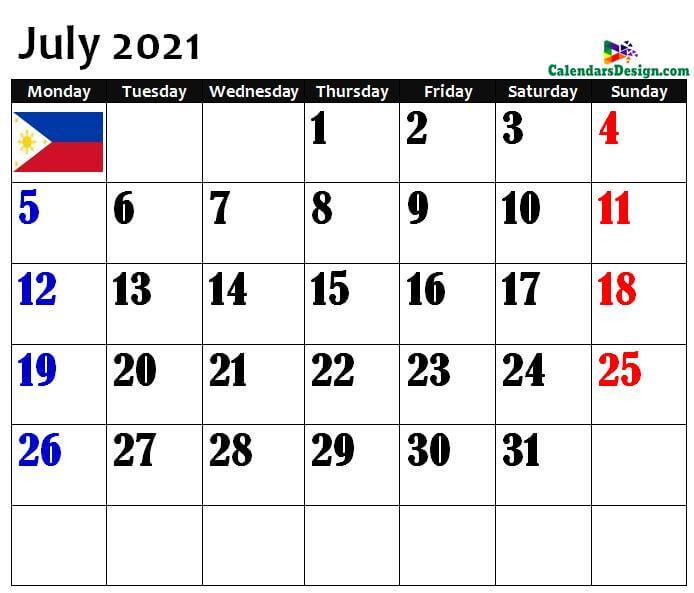 2021 July Philippines Calendar