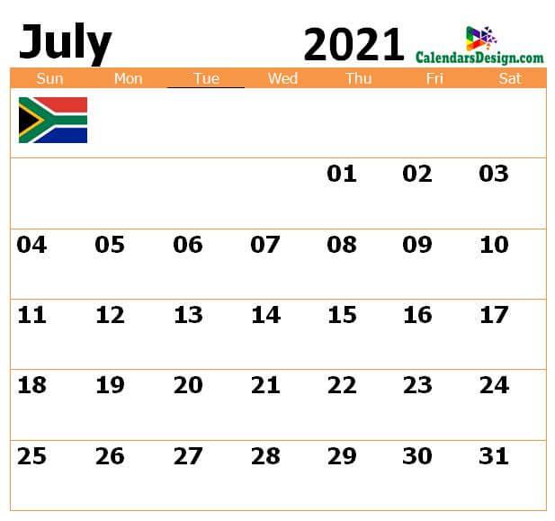 2021 July South Africa Calendar