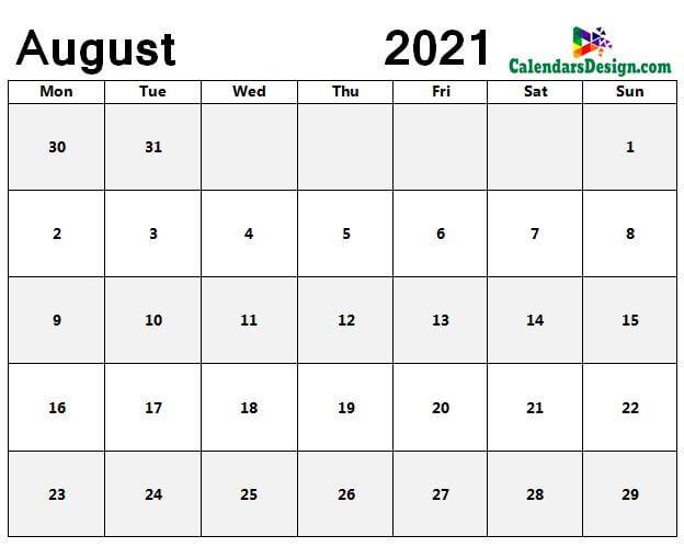 Aug 2021 blank calendar