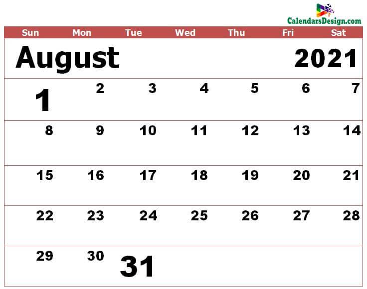 Aug 2021 calendar excel