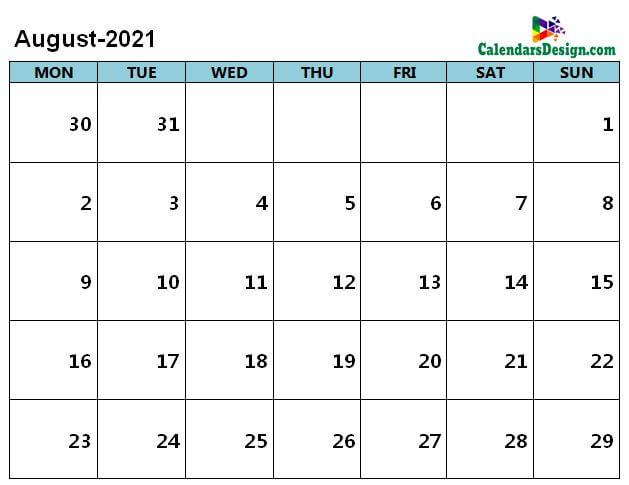 Aug 2021 calendar page