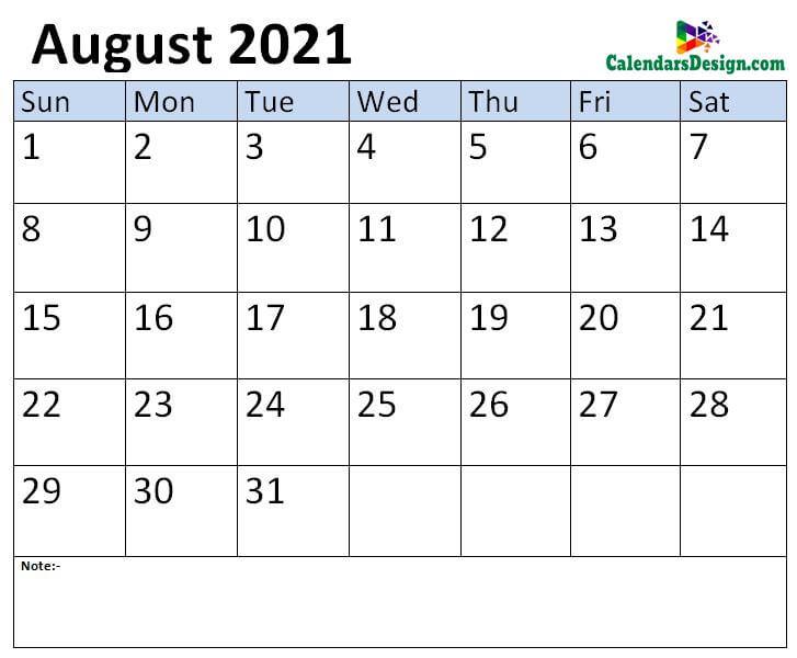 Aug 2021 calendar template