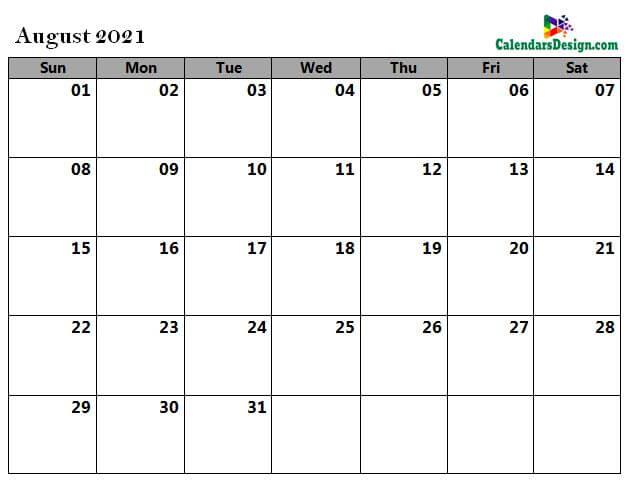 Aug 2021 calendar word doc