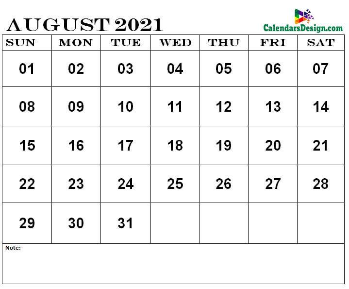 Aug 2021 printable calendar
