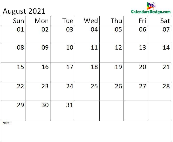 Aug calendar 2021 monthly template