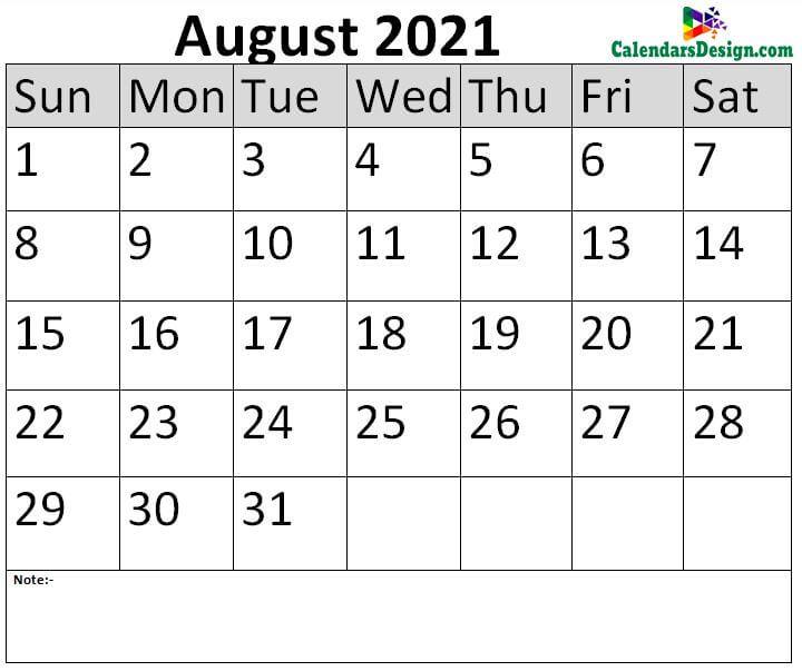 August 2021 Calendar Blank Template