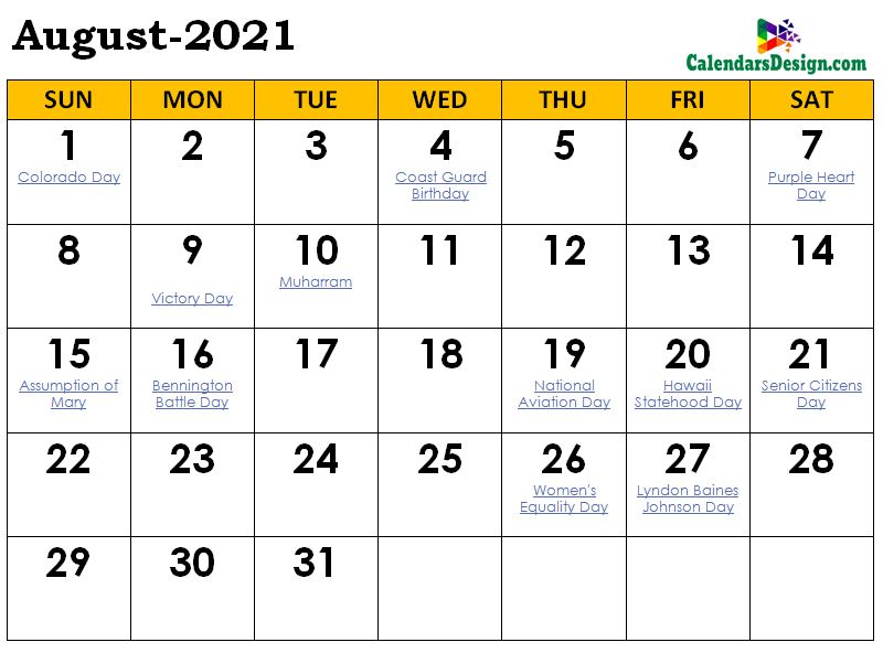 August 2021 Calendar Malaysia with Holidays