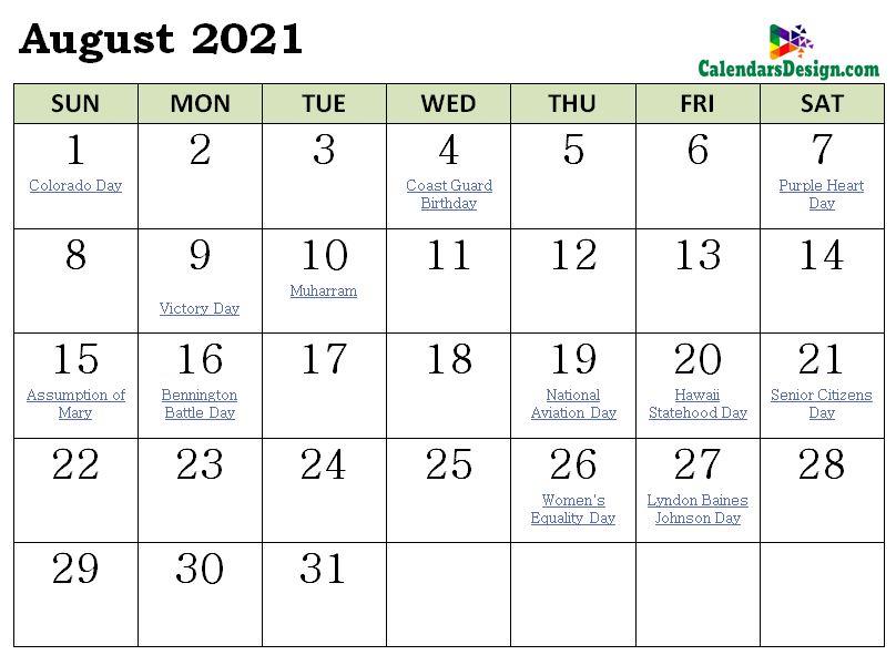August 2021 Calendar NZ With Holidays