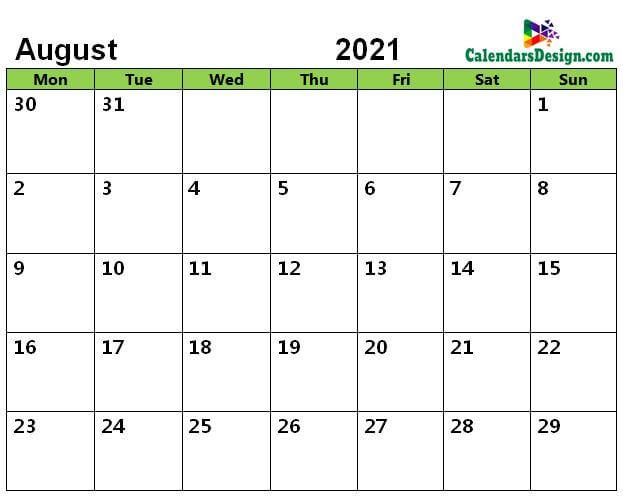 August 2021 Calendar Page