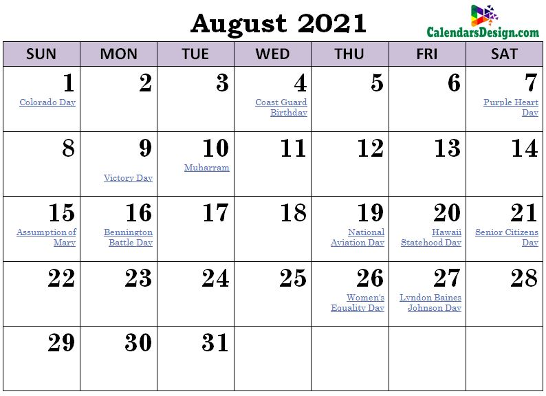 August 2021 Calendar Philippines with Holidays