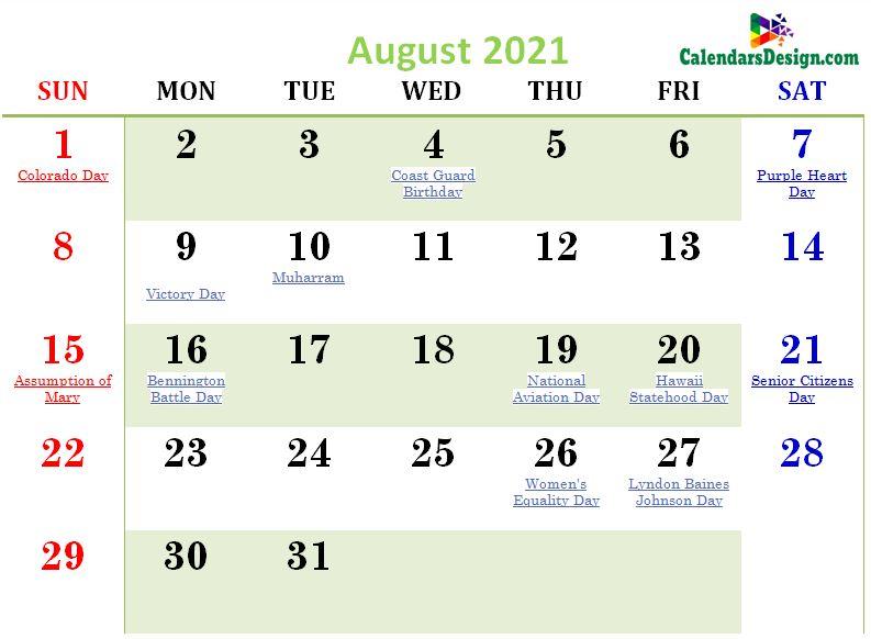 August 2021 Calendar USA With Holidays
