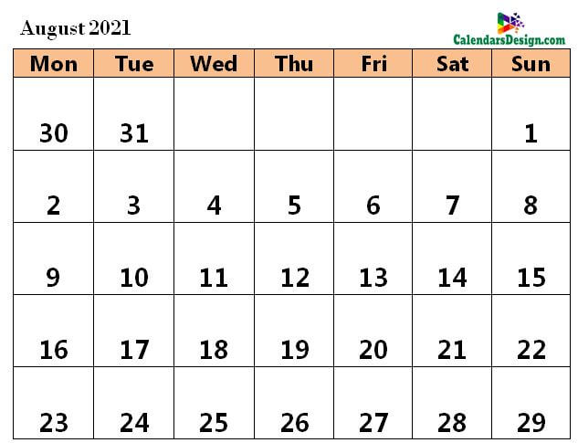 August 2021 Calendar Word Doc