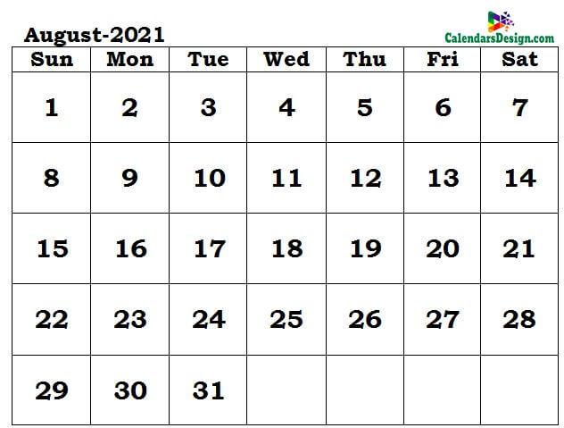 August 2021 Calendar Word Format