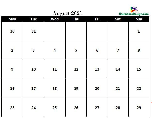 August 2021 Calendar in PDF