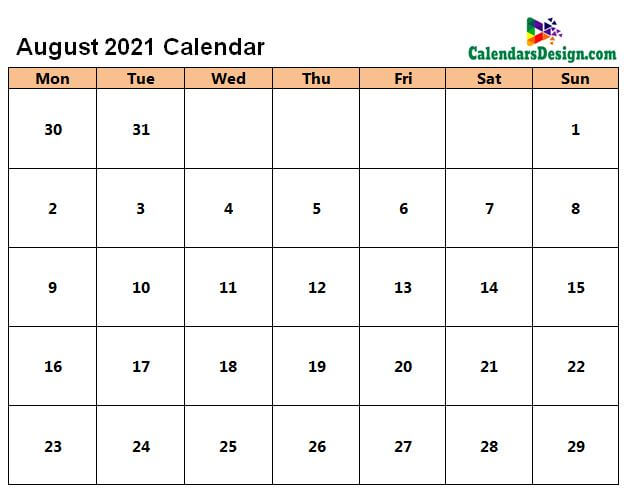 August 2021 Calendar in Page