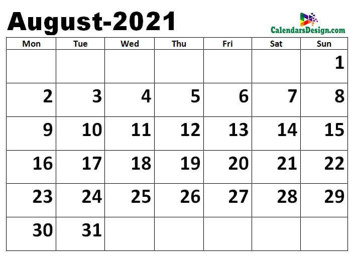 August 2021 Excel calendar template