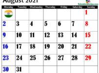 August 2021 Indian Calendar