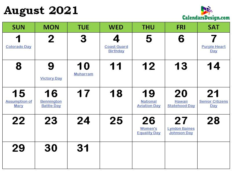 August 2021 Indian Calendar with Holidays