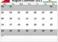 August 2021 Philippines calendar With Notes