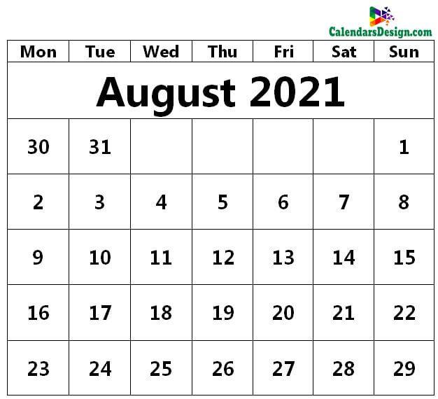 August 2021 Printable Blank Calendar