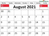 August 2021 Singapore calendar