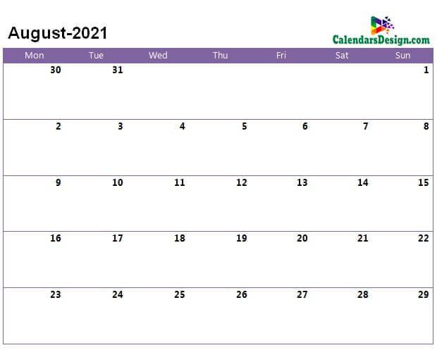August 2021 a4 calendar