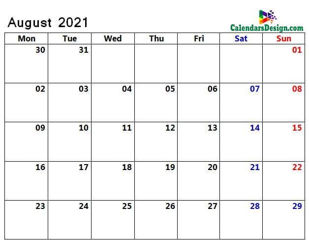 August 2021 calendar blank