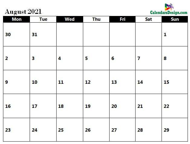 August 2021 calendar pdf to print