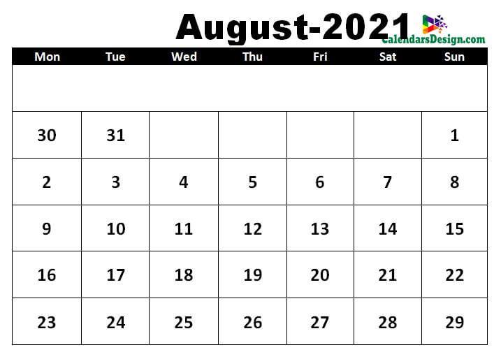 August 2021 calendar template in excel