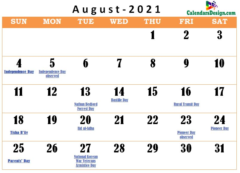 August 2021 calendar usa with holidays all countries