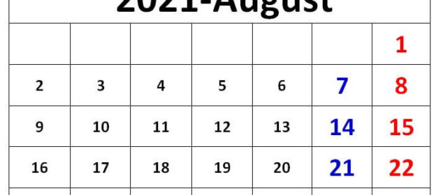 August 2021 excel calendar