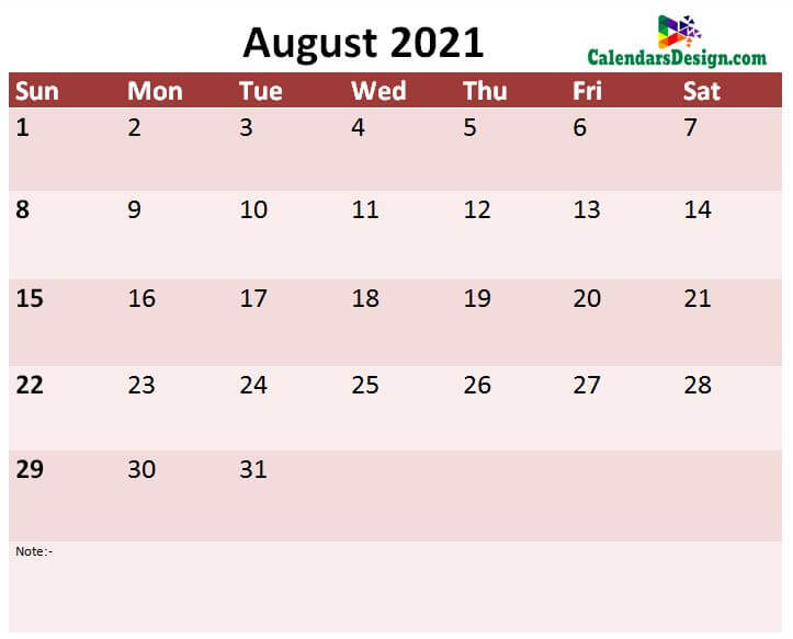 August 2021 month template
