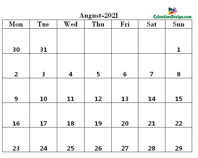 August 2021 pdf calendar