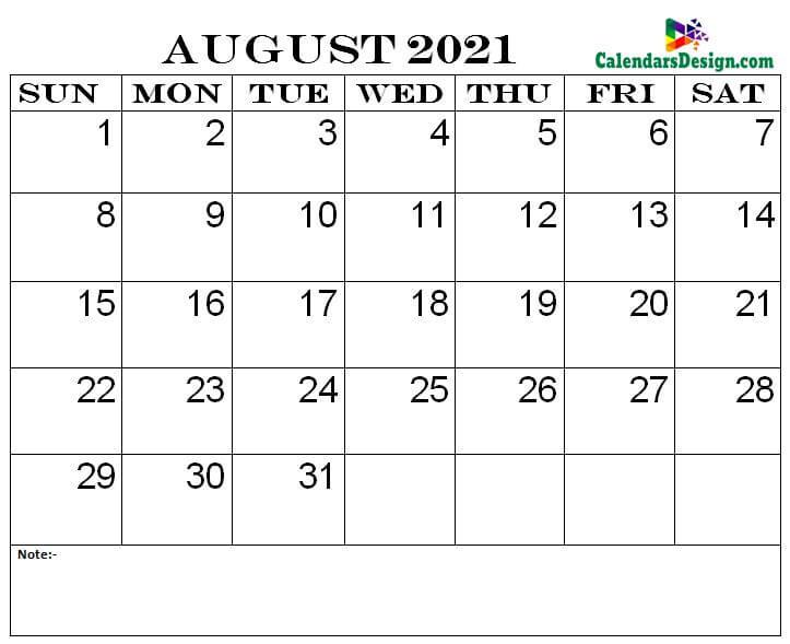 August 2021 printable calendar pdf