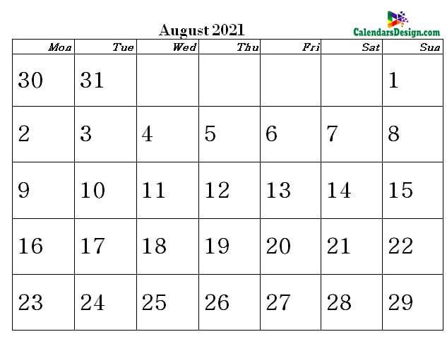 August 2021 word calendar download