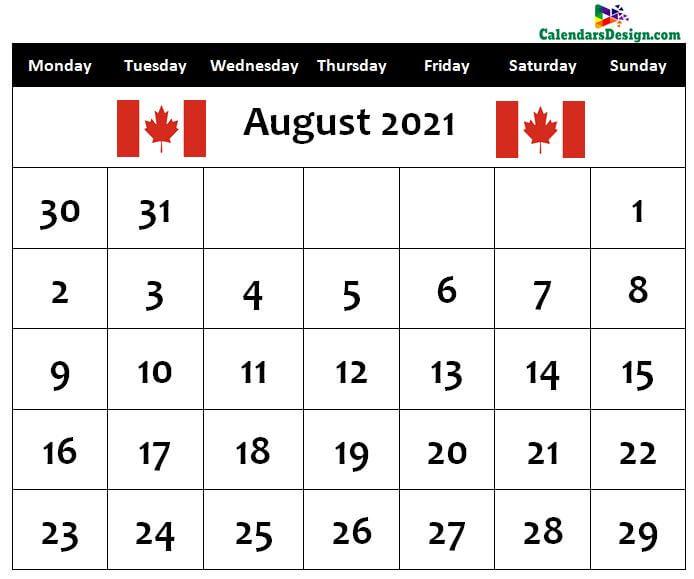 August Calendar 2021 Canada