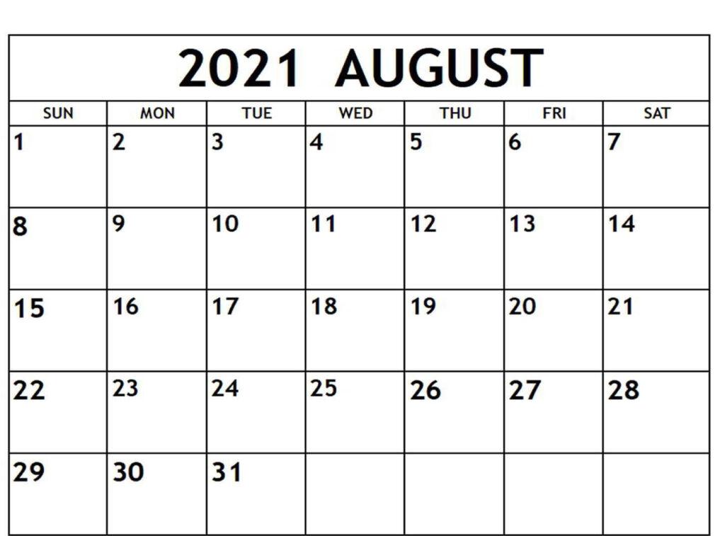 August Calendar 2021 Free Printable
