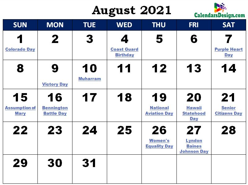 August Calendar 2021 India with Festivals