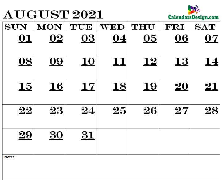 August Calendar 2021 Printable