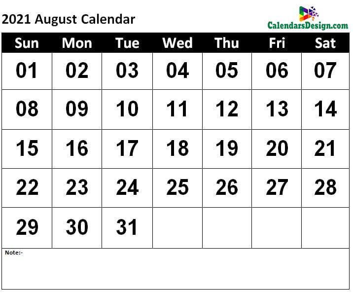 August Calendar 2021 Template