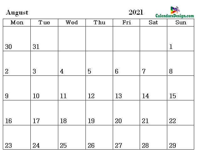 August Calendar 2021 Word Format
