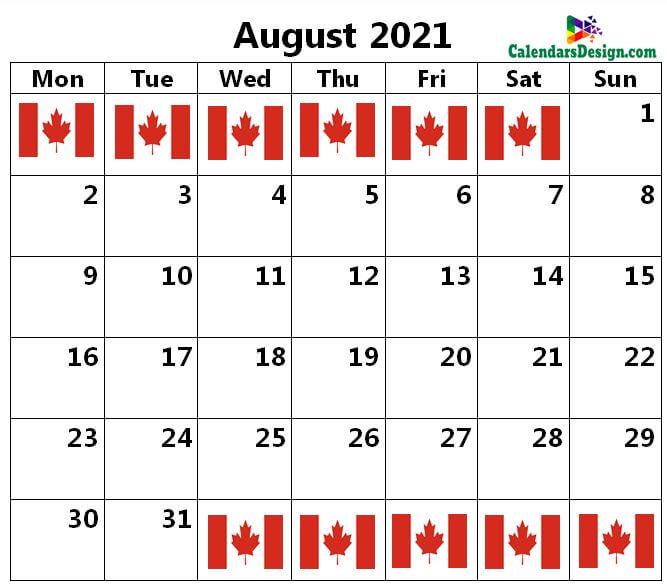 August Canada calendar 2021