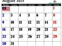 August Malaysia Calendar 2021