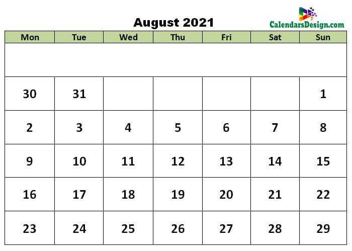 August calendar 2021 excel calendar