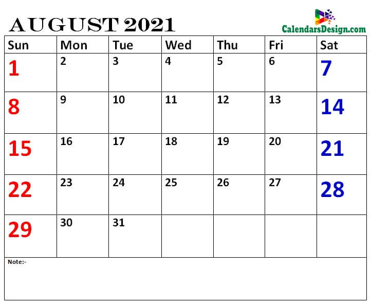 August calendar 2021 printable online