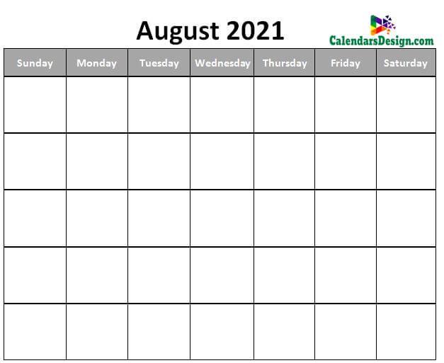 Blank August Calendar 2021 Template