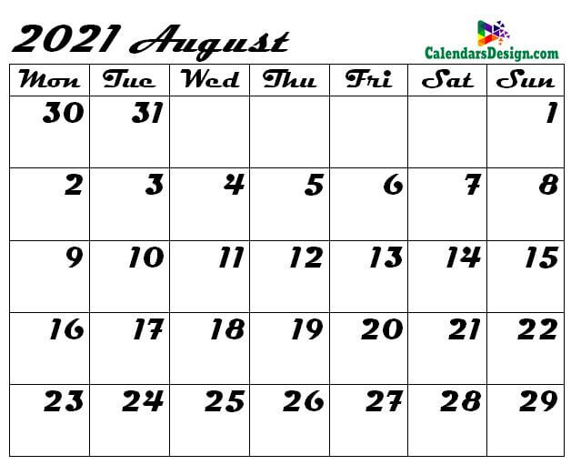 Blank Calendar for August 2021