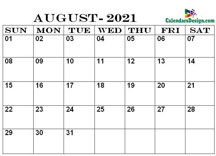 Calendar Printable August 2021